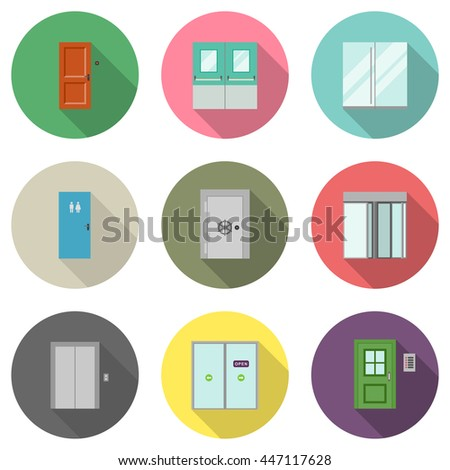Doors for different purposes in flat style. Door icons with long shadow. Raster version - stock photo