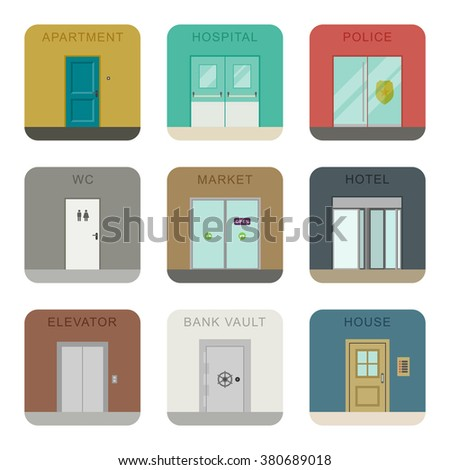 Doors icons for different purposes in flat style. Raster version. - stock photo