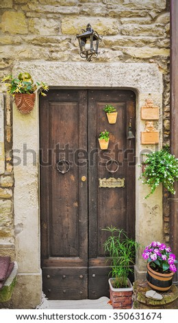 Doors in an old house decorated with flower pots and flowers - stock photo