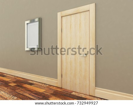 Doors in the interior. Empty picture. 3D-rendering