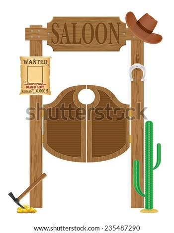 doors in western saloon wild west illustration isolated on white background - stock photo