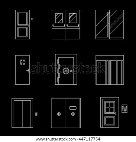 Doors line icons on black background. Raster version - stock photo