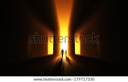Doors of light - stock photo