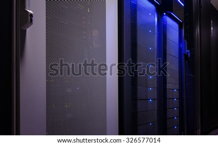 doors of mainframes in data center - stock photo