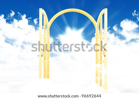 Doors to Paradise. gate in sky. illustration - stock photo