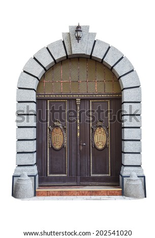 Doors with arch isolated on white background - stock photo