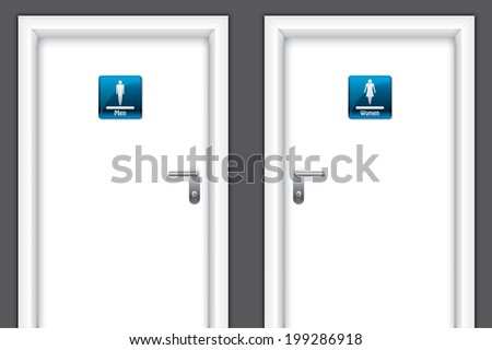Doors with restroom symbols for man and women - stock photo