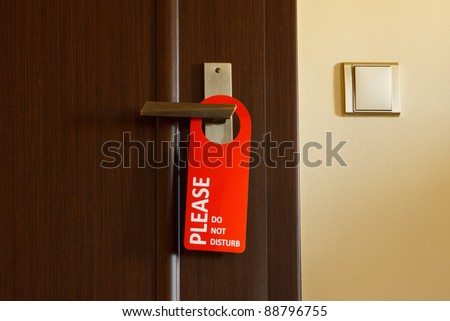 doors with sign for personal -do not disturb - stock photo