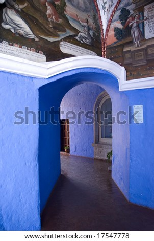 Doorway at the Santa Catalina Monastery. Arequipa, Peru - stock photo