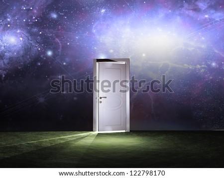 Doorway before cosmic sky - stock photo
