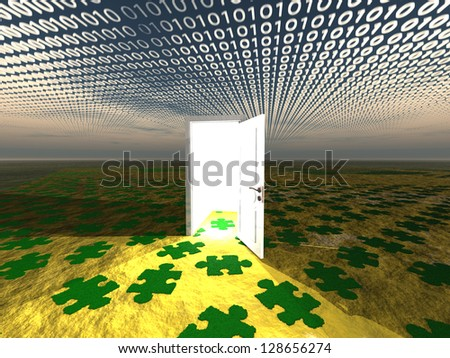 Doorway in landscape with binary streaming and puzzle pattern on ground - stock photo