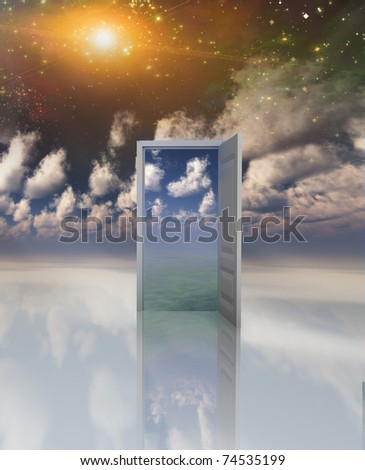 Doorway in serene space opens into other realm - stock photo