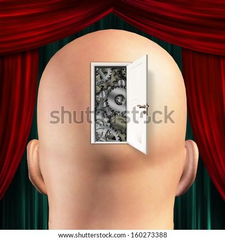 Doorway opens to gears in mind - stock photo