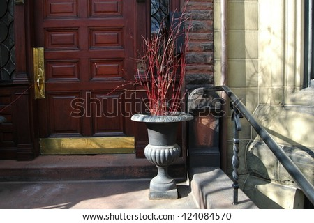 Doorway to Brownstone Building - stock photo