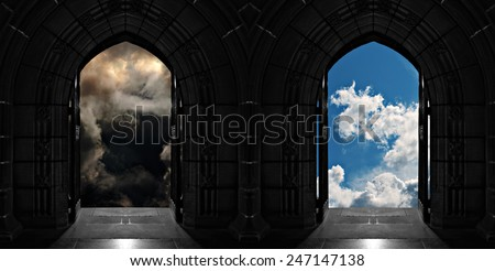Doorways to heaven or hell - stock photo