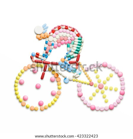 Doping drugs and pills in the shape of a road bicycle racer on a bike.