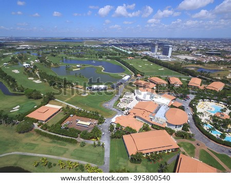 DORAL - MARCH 17: Aerial photo of Trump National Resort and Golf club which holds the annual Cadillac World Golf Championship tournament March 17, 2016 in Doral FL, USA - stock photo
