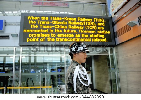 DORASAN, SOUTH KOREA - NOVEMBER 14: Soldier at Dorasan railway Station in the DMZ Demilitarized Zone on the Gyeongui Line between South and North Korea.November 14,2015 Dorasan, South Korea