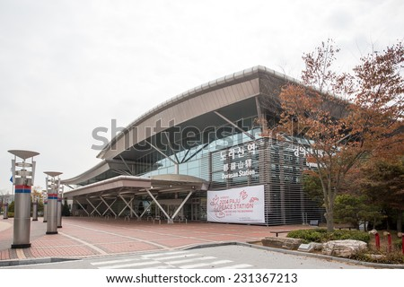 Dorasan, South Korea - October 24, 2014: Dorasan Railway Station recently built in DMZ, South Korea. The last station before North Korea