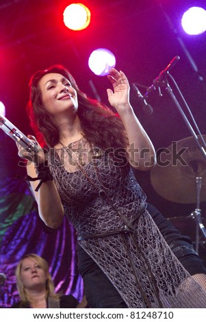 DORDERCHT, NETHERLANDS - JULY 17: Monique Klemann of Loïs Lane at Big Rivers on Grote Kerksplein July 17, 2011 in Dordrecht. Lo?s Lane is a Dutch girl group who have recorded an album with Prince.