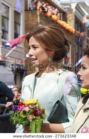 DORDRECHT, THE NETHERLANDS - APRIL 27, 2015: Princess Marilene van den Broek during her visit to Dordrecht on the traditional Kings Day celebrations together with the Dutch royal family.