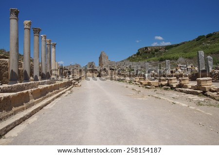 Doric  columns and street in the ancient Greek city of  Perge,  Turkey