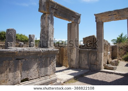 Doric columns on the collonaded street  of ancient  Perge,  Turkey