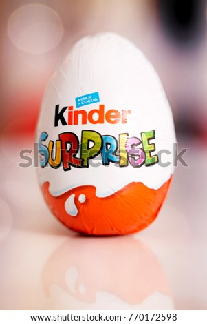 DORKOVO, BULGARIA - DECEMBER 03, 2017: Front view of Kinder Joy (Kinder Merendero) isolated on white. Plastic egg-shaped packaging with clipping path. Kinder Joy made by confectionery company Ferrero