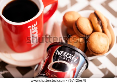 DORKOVO, BULGARIA - DECEMBER 03, 2017: Nescafe Gold Blend instant coffee and bisquits
