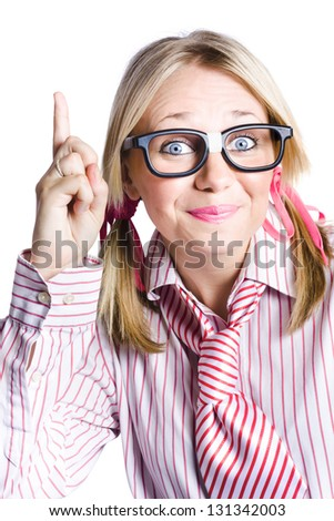 Dorky Businesswoman Wearing Taped Glasses And Striped Stereotype Shirt And Tie Gesturing A Inventive Idea