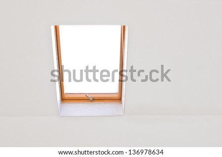 dormer on white with white wall - stock photo