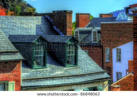 Dormer Windows in Harpers Ferry, Maryland, USA - stock photo