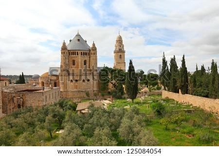 Dormition Abbey at Mount Zion. Jerusalem. Israel - stock photo