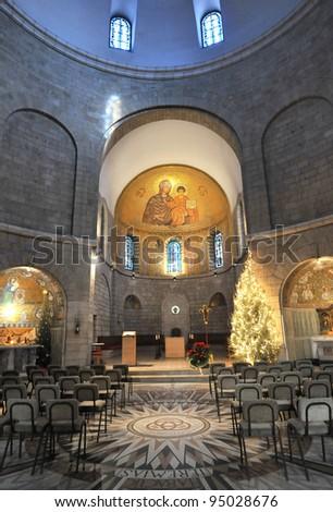 Dormition Abbey, Mt. Zion in Jerusalem - stock photo