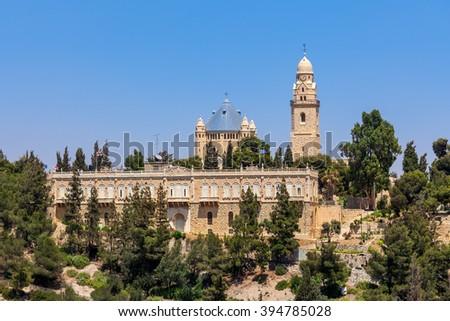 Dormition Abbey on Mount Zion in Jerusalem, Israel. - stock photo