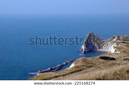 Dorset coastal path above Durdle Door - stock photo