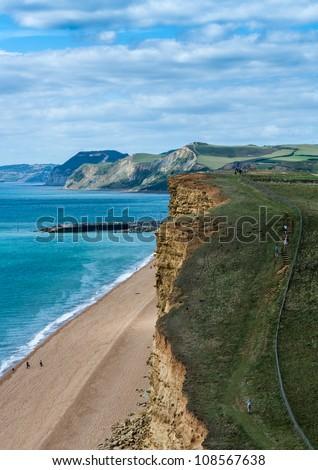 Dorset England UK coastline beaches Bridport Jurassic Coast view from East Cliff  freshwater beach. - stock photo