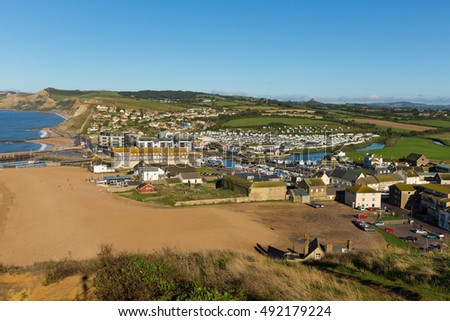Dorset town of West Bay England uk on Jurassic coast south of Bridport on a beautiful day with blue sky and sea