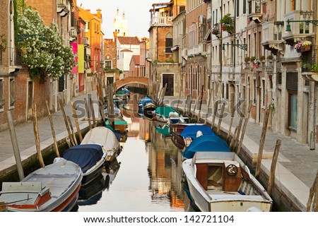Dorsoduro is the most picturesque district of Venice at morning, Italy. - stock photo