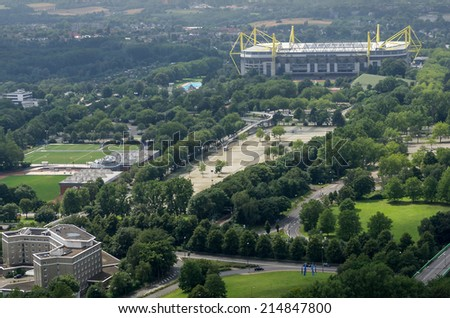 DORTMUND, GERMANY - JULY 13: View from Florian Tower  July  13, 2014, in Dortmund, Germany. - stock photo