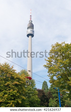 DORTMUND, GERMANY - OCTOBER 4, 2015: Florianturm (Florian Tower) in the Westfalen park. Built in 1959 it has a height of 720 ft (219.6m).