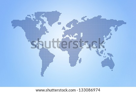 Dot World maps and globes business background - stock photo