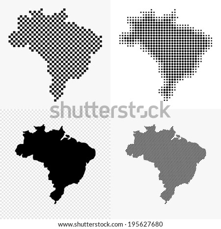 Dotted and striped brazil map set.