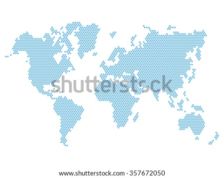 Dotted Blue World Map Isolated on White.