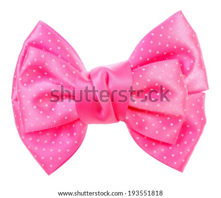 Dotted bow tie pink with white spots - stock photo