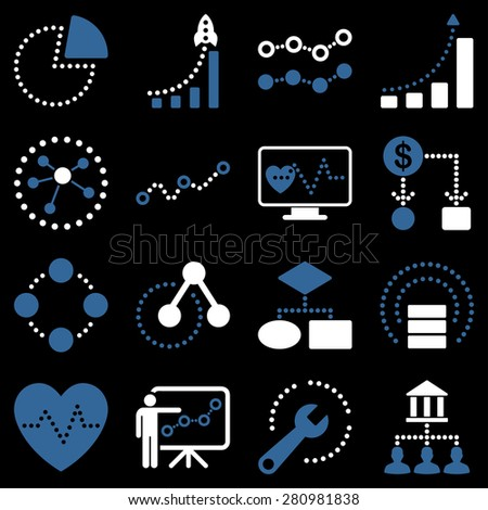 Dotted business graphics icons. This bicolor raster icon set uses modern corporate light blue and white color scheme. - stock photo