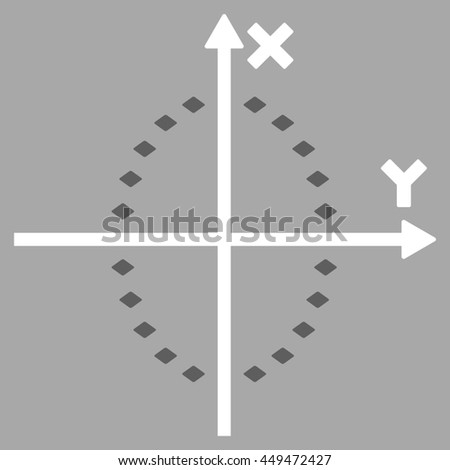 Dotted Ellipse Plot glyph toolbar icon. Style is bicolor flat icon symbol, dark gray and white colors, silver background, rhombus dots.