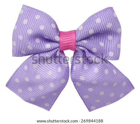 Dotted hair bow tie lilac with white spots - stock photo