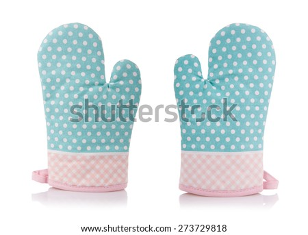 Dotted kitchen oven gloves pair, mittens isolated on white background, green pink spotted and checkered cloth, safety material to protect hands from heat, body protection kitchen accessory, horizontal - stock photo