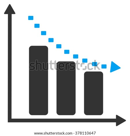 Dotted Negative Trend glyph icon. Style is bicolor flat symbol, blue and gray colors, dots are rounded rectangles, white background.
